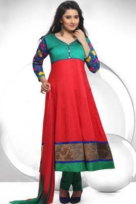 Rose-madder Red and Persian Green Cotton Readymed Embroidered Anarkali Salwar Kameez