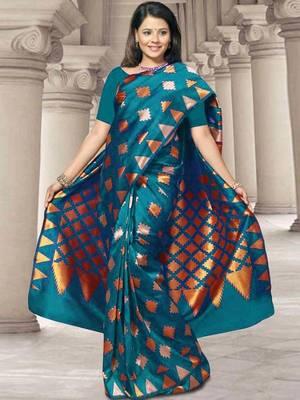 Kalazone Blue Zari Work Silk Saree:WS20706