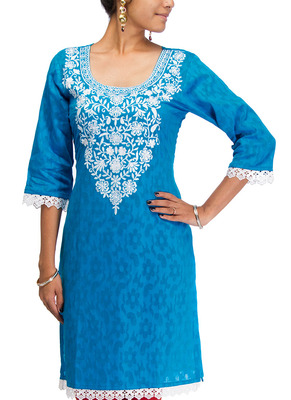 Cotton Jacquard embroidered kurti - Blue Color 1401