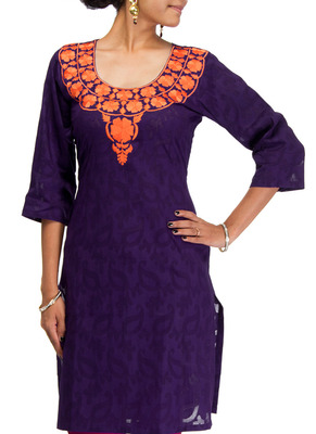 Cotton Jacquard embroidered kurti - Violet Color 1405.