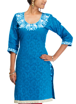 Cotton Jacquard embroidered kurti - Blue Color 1406b.