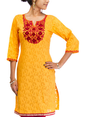 Cotton Jacquard embroidered kurti - Yellow Color 1408