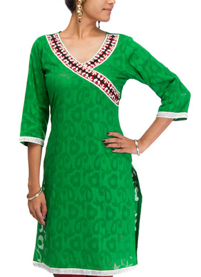 Cotton Jacquard embroidered kurti - Parrot Green Color 1412