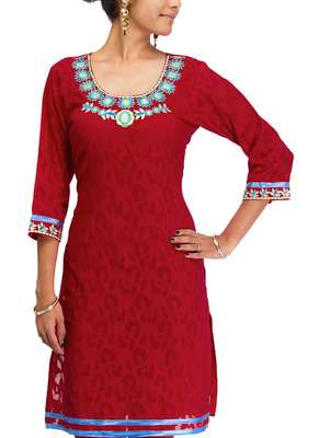 Cotton Jacquard embroidered kurti - Red Color 1413a.