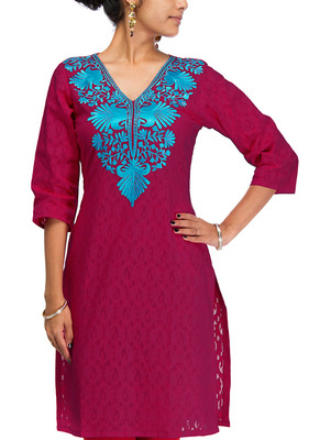 Cotton Jacquard embroidered kurti - Dark Pink Color 1415.