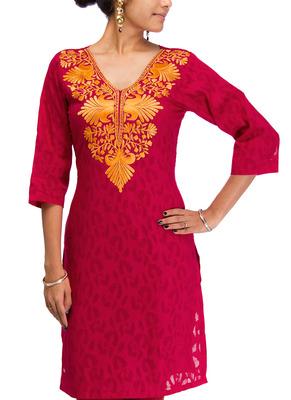 Cotton Jacquard embroidered kurti - Reddish Pink Color 1416.