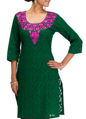 Cotton Jacquard embroidered kurti - Dark Green Color 1417.