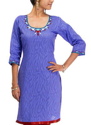 Cotton Jacquard embroidered kurti - Purplish Blue Color 1418a.