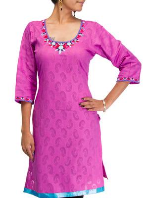 Cotton Jacquard embroidered kurti - Purplish Blue Color 1418a.