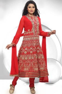 Rose-madder Red Faux Georgette Readymed Embroidered Festival Anarkali Salwar Kameez