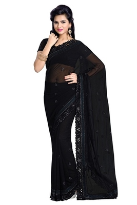 Triveni Ravishing Party Wear Border Work Indian Traditional Amzing Black Saree