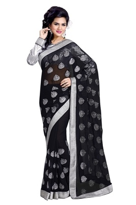 Triveni Ravishing Party Wear Embroidered Indian Traditional Amzing Black Saree