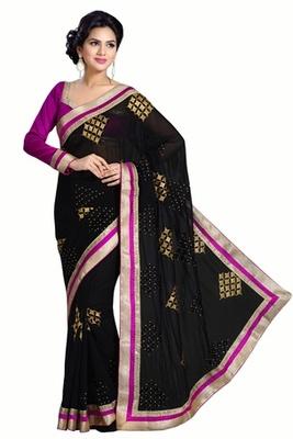 Triveni Ravishing Evening Wear Embroidered Indian Traditional Amzing Black Saree