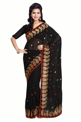 Triveni Ravishing Evening Wear Embroidered Indian Traditional Amzing Black Saree