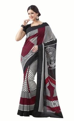 Triveni Impressive Art Silk Black Color Sober Wear Indian Designer Printed Saree