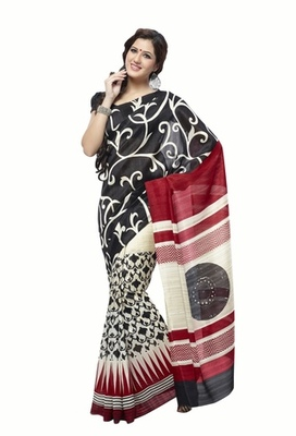 Triveni Impressive Art Silk Black Color Sober Wear Indian Designer Printed Saree