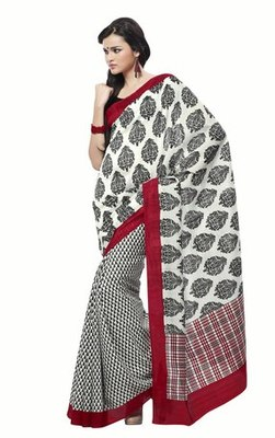 Triveni Impressive Art Silk White Color Sober Wear Indian Designer Printed Saree