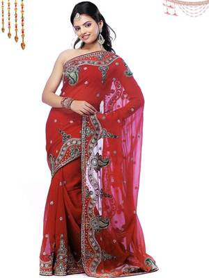 Kalazone Georgette Bridal Magic Red Georgette Saree S4031