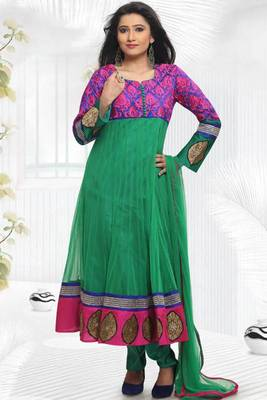 Royal Blue and Sea Green Net Embroidered Festival Readymed Anarkali Kameez