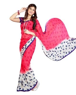 Triveni Beautiful Pink Color Casual Printed Indian Ethnic Designer Trendy Saree