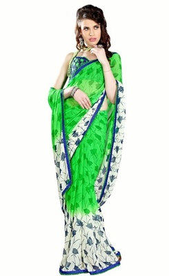 Triveni Beautiful Green Color Casual Printed Indian Ethnic Designer Trendy Saree
