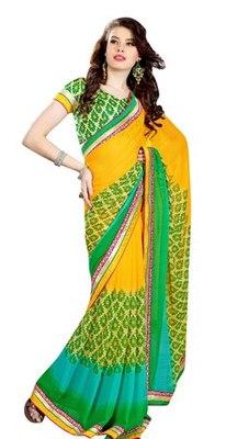 Triveni Beautiful Yellow Color Casual Printed Indian Ethnic Designer Trendy Sari