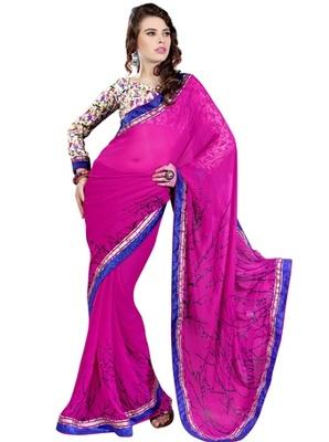 Triveni Beautiful Magenta Color Casual Print Indian Ethnic Designer Trendy Sari