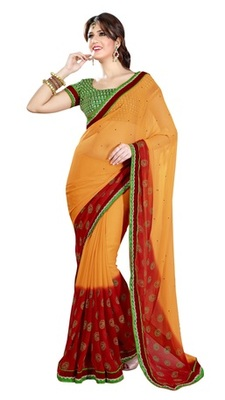 Triveni Beautiful Yellow Color Casual Printed Indian Ethnic Designer Trendy Sari
