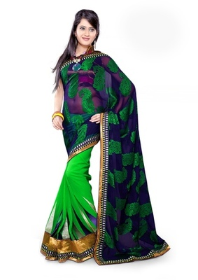 Triveni Fashionable Border Work Green Colored Indian Designer Exquisite Saree