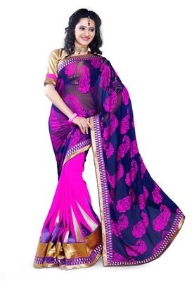 Triveni Fashionable Border Work Magenta Colored Indian Designer Exquisite Saree