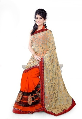 Triveni Fashionable Embroidered Orange Colored Indian Designer Exquisite Saree