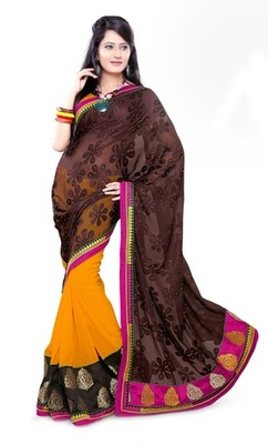 Triveni Fashionable Border Work Yellow Colored Indian Designer Exquisite Saree