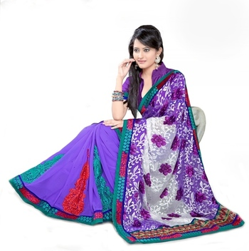 Triveni Fashionable Embroidered Purple Colored Indian Designer Exquisite Saree
