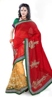 Triveni Fashionable Embroidered Red Colored Indian Designer Exquisite Saree