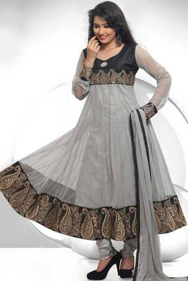 Silver Gray and Black Net Embroidered Festival readymed Anarkali Kameez