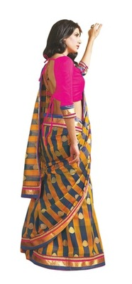Triveni Fabulous Multi Colored Party Wear Indian Traditional Border Work Saree