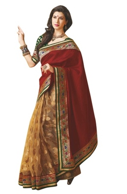 Triveni Fabulous Brown Colored Party Wear Indian Traditional Border Work Saree