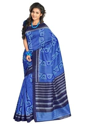 Triveni Stylish Sober Wear Indian Traditional Printed Art Silk Blue Saree