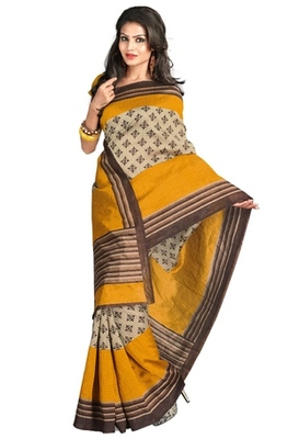 Triveni Stylish Sober Wear Indian Traditional Printed Art Silk Beige Saree