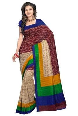 Triveni Stylish Sober Wear Indian Traditional Printed Art Silk Multi Saree