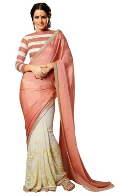 Triveni Amzing Offwhite Colored Party Wear Indian Ethnic Embroidered Saree