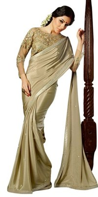 Triveni Amzing Beige Colored Party Wear Indian Ethnic Border Work Saree