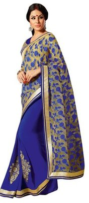 Triveni Amzing Blue Colored Party Wear Indian Ethnic Border Work Saree