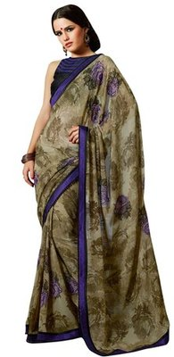 Triveni Amzing Green Colored Office Wear Indian Ethnic Embroidered Saree