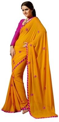 Triveni Amzing Orange Colored Festive Wear Indian Ethnic Embroidered Saree