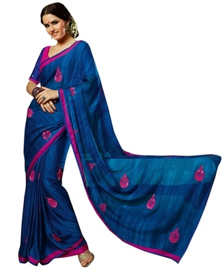 Triveni Amzing Navy Blue Colored Festive Wear Indian Ethnic Embroidered Saree
