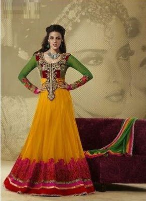 Green and Yellow Faux Georgette Floor Length Anarkali Salwar Suit