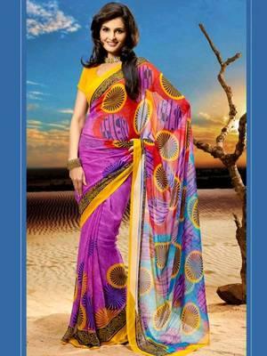 Kalazone Red Pink Blue Yellow Printed chiffon Saree:WSV31901