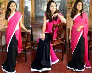 Attractive georgette half-half saree online shopping.