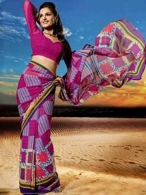 Kalazone Purple Chiffon  Printed Saree: WSV31904